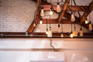Modern lamps hanging from the ceiling with white wall, Lampshade hanging light, lamp case design.