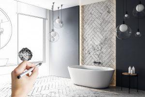 Contemporary hand drawn bathroom interior design. Engineering and architecture concept.
