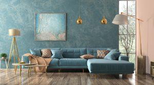 Modern interior of living room with blue corner sofa, coffee tables, floor lamp 3d rendering
