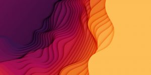 Vector 3D abstract background with paper cut shapes. Colorful carving art. Paper craft landscape with gradient fade colors. Minimalistic design layout for business presentations, flyers, posters